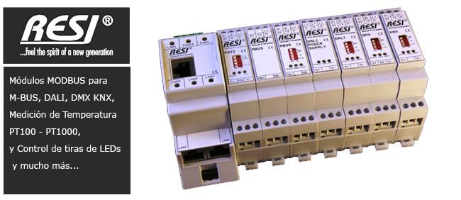 Módulos MODBUS para M-BUS, DALI, DMX KNX, Medición de Temperatura PT100 - PT1000, y Control de tiras de LEDs y mucho más