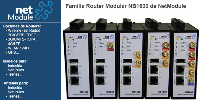 Router modular para la industria Dispone de varias opciones: 2G GPRS-EDGE-3G UMTS-HSPA, 4G LTE, WLAN WiFi ,GPS...