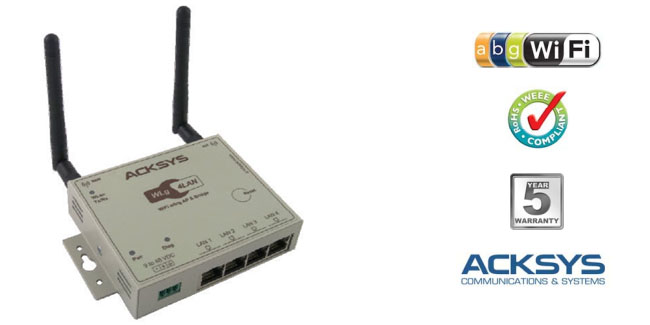 WiFi Industrial WLg-4Lan, incorpora Switch Ethernet de 4 bocas. Funciones: Access-Point, Client-Bridge, Repeater...
