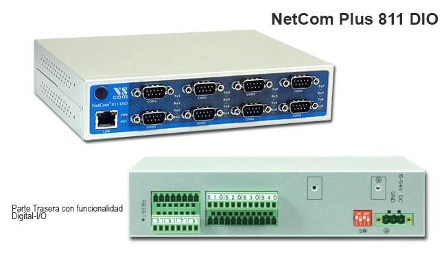 NetCom Plus 811 DIO: Multifunction Serial-Device-Server con 8x RS232, 8x Digital-I/O, OpenVPN para Proteccion de Datos...
