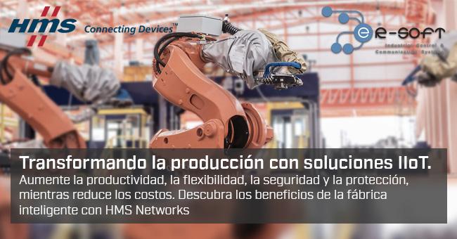 Transformando la producción con soluciones IIoT.               Aumente la productividad, la flexibilidad, la seguridad y la protección,               mientras reduce los costos. Descubra los beneficios de la fábrica               inteligente con HMS Networks