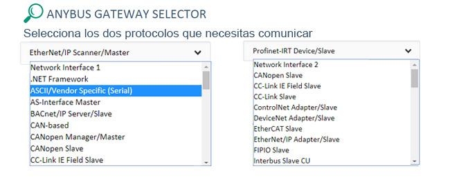 Seleccione dos protocolos a comunicar Anybus X-Gateway