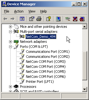 NetCom Plus in Device Manager