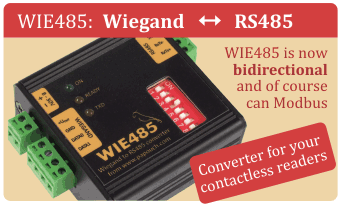 Wiegand to RS485 bidirectional interface converter