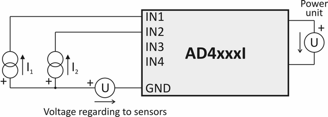 Current sensor connections - example 1